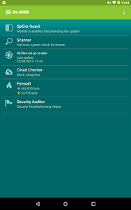 screenshot of Dr.Web Security Space version Varies with device
