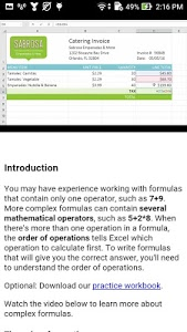 screenshot of Learn Excel 2016 version 16.0