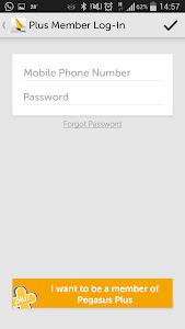 screenshot of Pegasus Airlines Mobile version 1.3.1