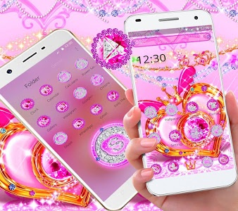 Download Pink Diamond Glitter Heart Theme 1.1.2 APK