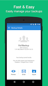 screenshot of Simpler Contacts Backup version 5.4.4