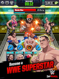 screenshot of WWE Tap Mania: Get in the Ring in this Idle Tapper version 17777.22.0