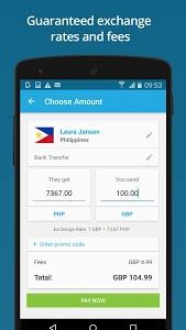 screenshot of WorldRemit Money Transfer version 2.2.0.102